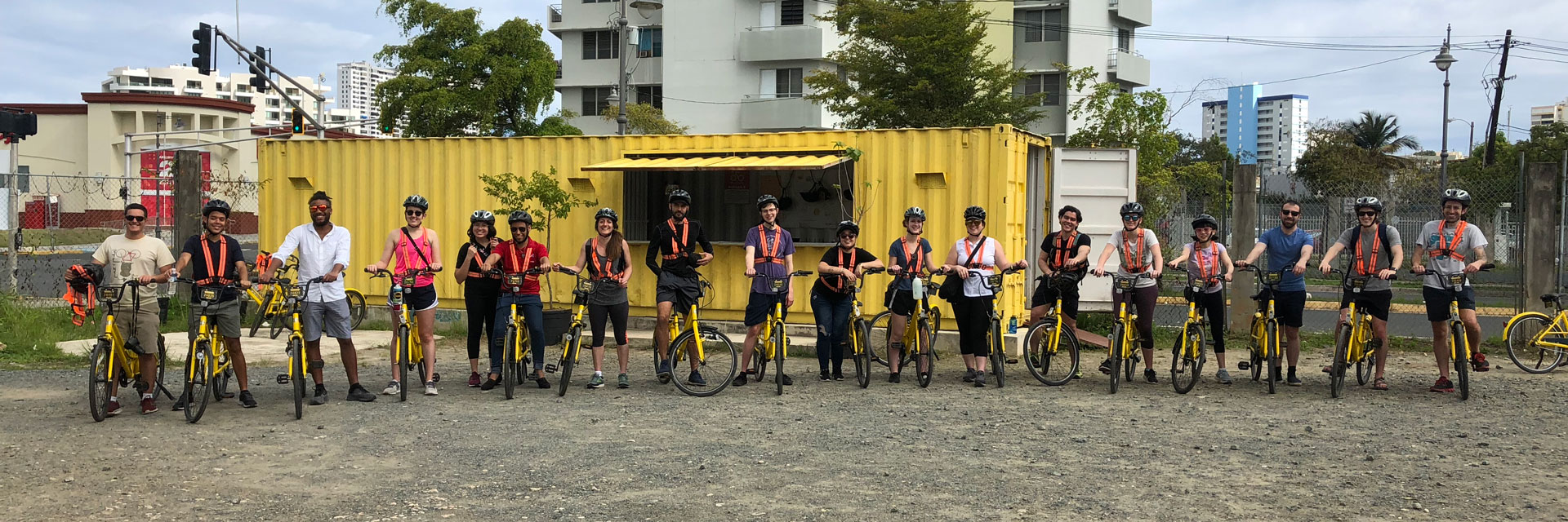 Students in Puerto Rico during their studio on a bike tour