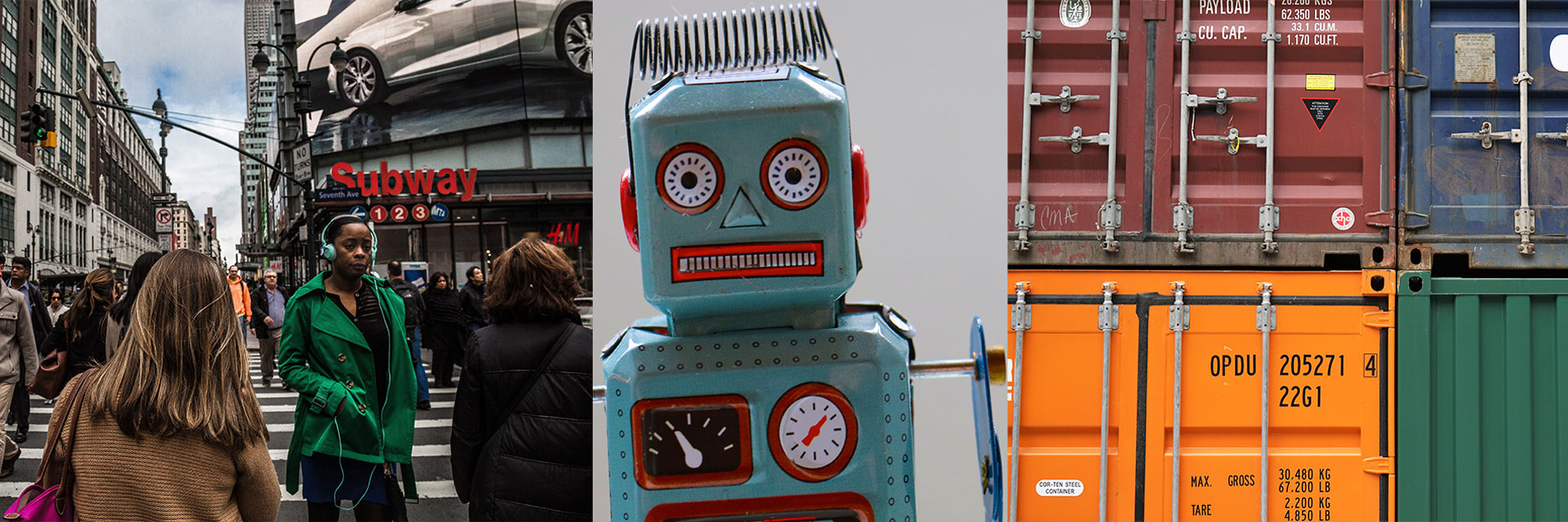 People on the street, a robot, and shipping containers: all symbols of PLED research.