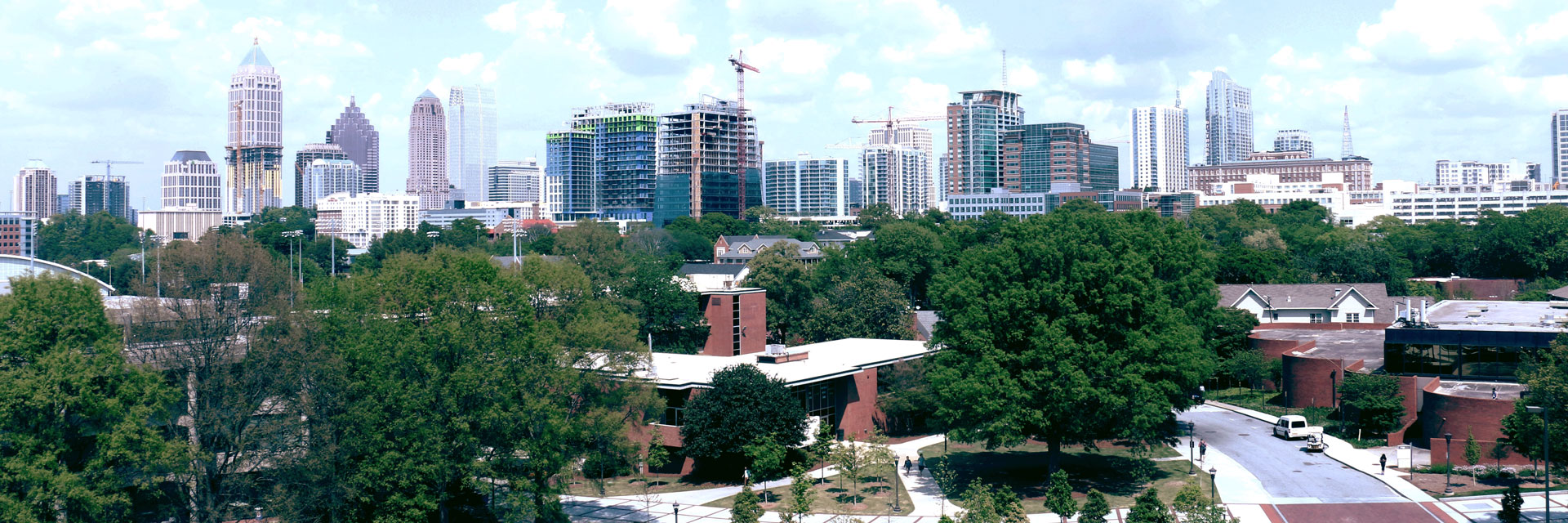 School with Atlanta in the background