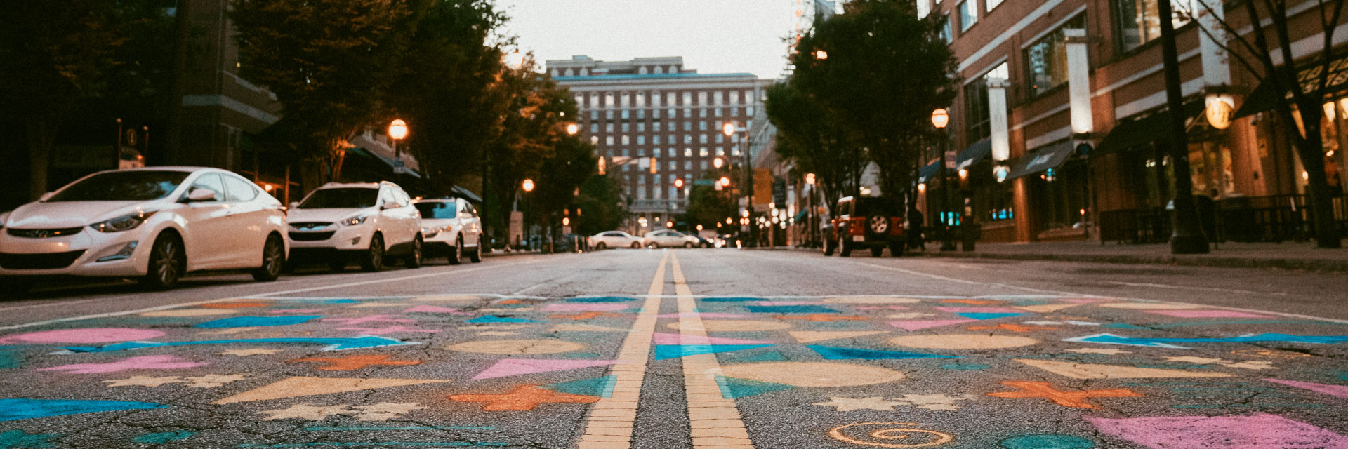 Tech Square with spray painted crosswalk for PARKing Day