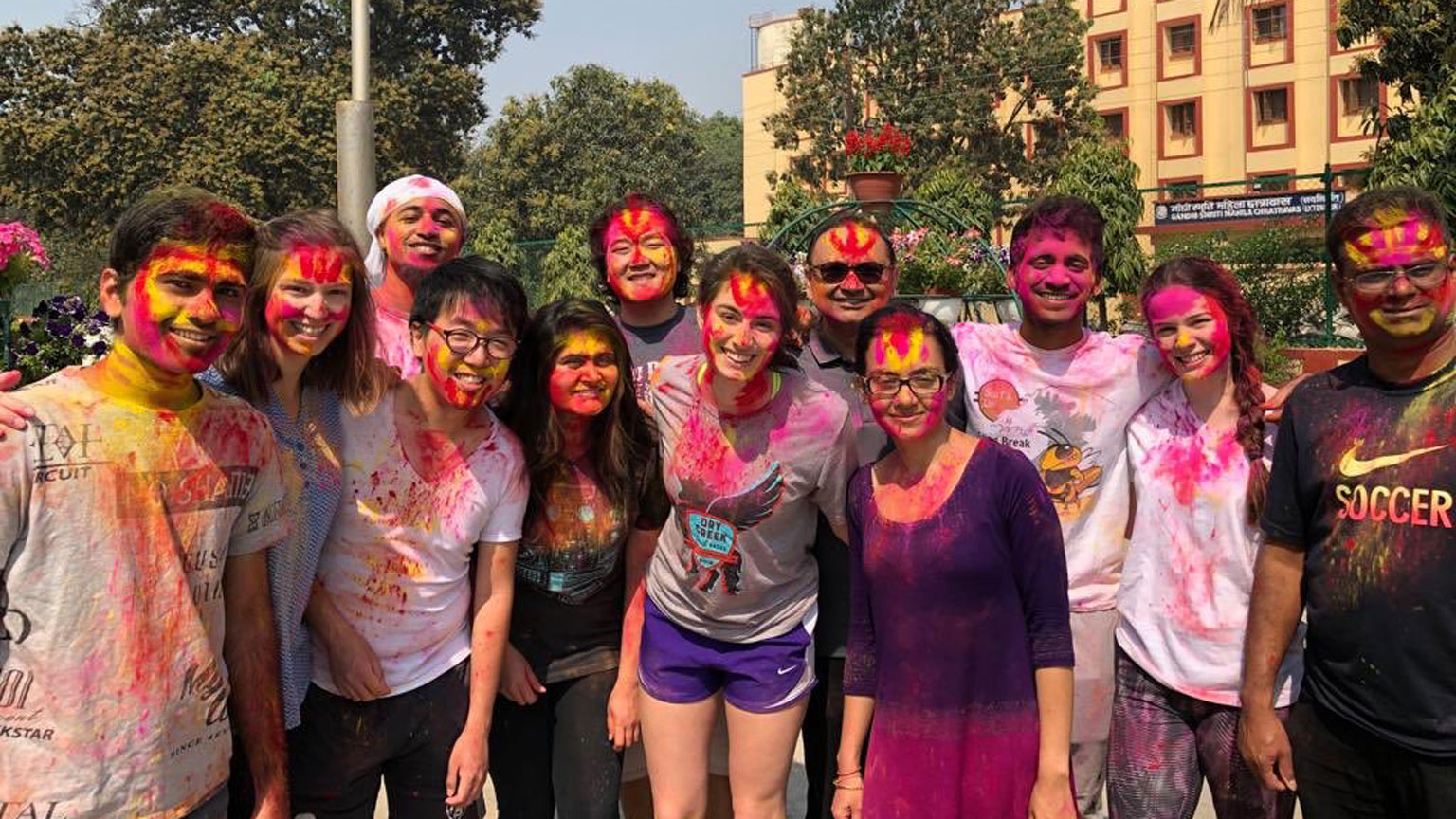 Students on Holi in India