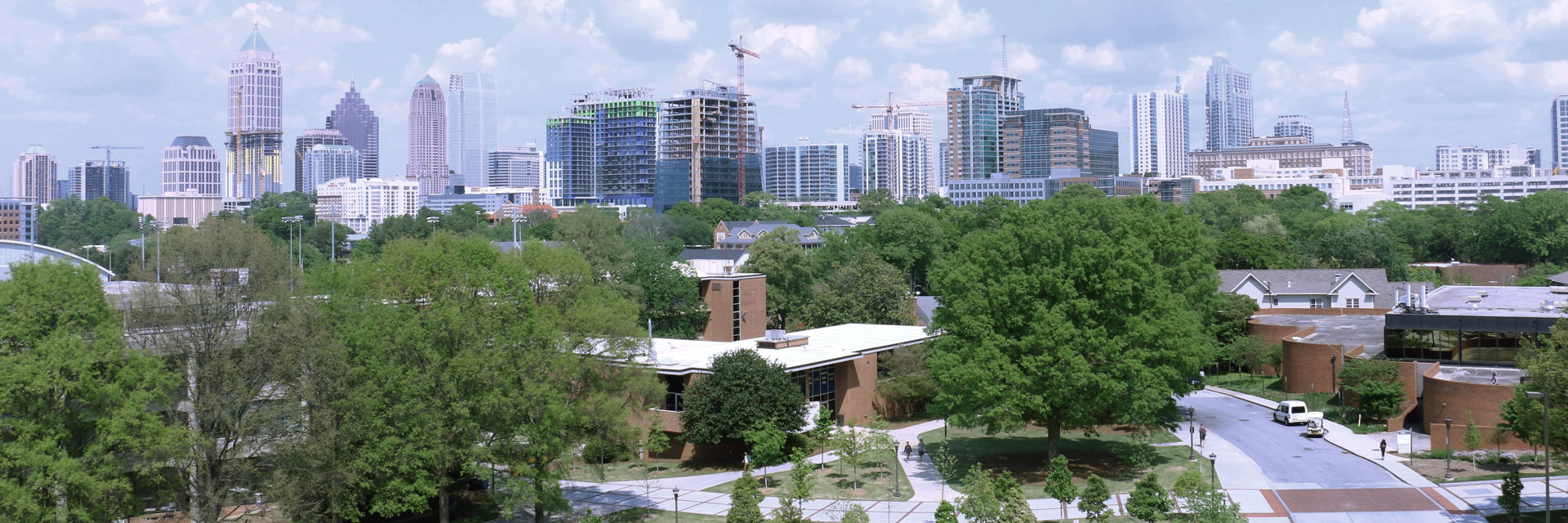 School with Atlanta skyline in the background