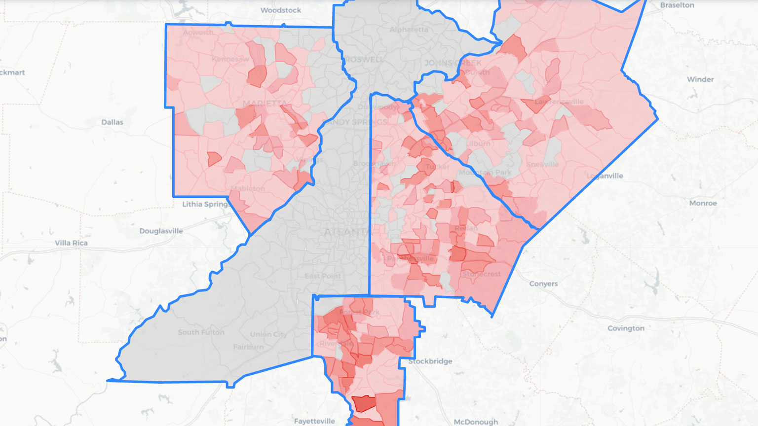 The screen grab of a map from the tracker highlighting eviction counts by county in a map of Atlanta.