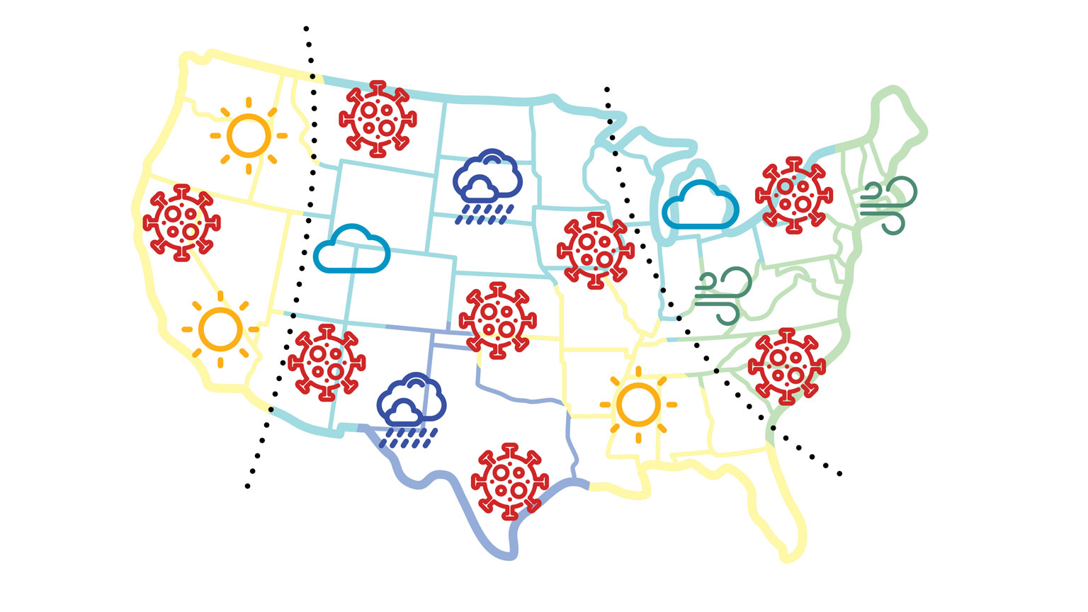 Illustration of a traditional weather map of the United States with several Covid-19 cells replacing regular weather patterns.
